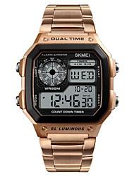 Недорогие -Муж. электронные часы Цифровой Нержавеющая сталь Черный / Серебристый металл / Золотистый Секундомер С двумя часовыми поясами Фосфоресцирующий Цифровой На каждый день -