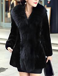 billiga -Dam Arbete / Fest / cocktail Streetchic / Sofistikerat Vinter Plusstorlekar Normal Fur Coat, Enfärgad Tröjkrage 3/4 ärm / Långärmad Fuskpäls Svart XXXL / 4XL / XXXXXL / Sexig