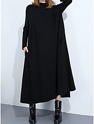 Недорогие -Жен. Хлопок Прямое Платье Средней длины