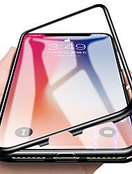 Недорогие -Кейс для Назначение Apple iPhone X / iPhone 7 Полупрозрачный / Магнитный Чехол Однотонный Твердый Закаленное стекло / Металл для iPhone X / iPhone 8 Pluss / iPhone 8