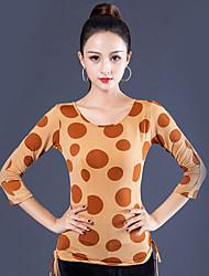 ราคาถูก -ชุดเต้นรำโมเดิร์น เสื้อ สำหรับผู้หญิง Performance น้ำแข็งไหม กระโปรงระบาย แขนยาว 3/4 Top