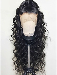 Недорогие -человеческие волосы Remy Лента спереди Парик стиль Бразильские волосы Естественные кудри Парик 130% Плотность волос с детскими волосами Природные волосы Отбеленные узлы Жен. Длинные