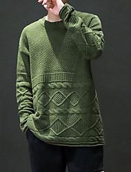 Недорогие -Муж. Шерсть выходные Длинный рукав Свободный силуэт Пуловер - Однотонный Круглый вырез
