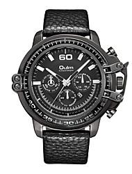 Недорогие -Oulm Муж. Спортивные часы Наручные часы Японский Японский кварц 30 m Календарь Крупный циферблат Кожа Группа Аналоговый На каждый день Мода Черный / Коричневый - Черный Коричневый / Один год