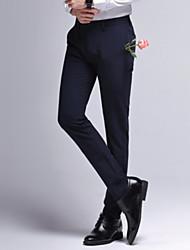 Χαμηλού Κόστους Στολές-Ανδρικά Ψηλή Μέση Λεπτό Παντελόνι επίσημο Παντελόνι Μονόχρωμο