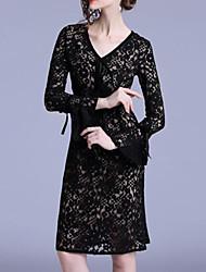 Недорогие -Жен. Классический Маленькое черное Платье - Однотонный До колена