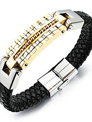 baratos -Homens Entrançado Pulseiras de couro tear Bracelet - Banhado a Ouro 18K, Aço Titânio Punk, Rock, Fashion Pulseiras Dourado / Prata Para Diário Rua