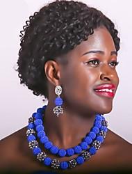 Недорогие -Жен. Многослойность Комплект ювелирных изделий - Шарообразные Мода Включают Струнные ожерелья Красный / Зеленый / Ярко-розовый Назначение Свадьба