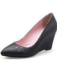 abordables -Femme Chaussures de confort Microfibre Printemps Mocassins et Chaussons+D6148 Hauteur de semelle compensée Noir / Argent / Rouge