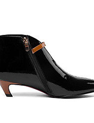 Недорогие -Жен. Ботильоны Наппа Leather Осень Ботинки На низком каблуке Заостренный носок Ботинки Цветы из сатина Черный / Бежевый