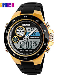 Недорогие -SKMEI Муж. Спортивные часы Армейские часы Японский Цифровой Нержавеющая сталь Стеганная ПУ кожа Черный 50 m Будильник Секундомер С двумя часовыми поясами Аналого-цифровые На каждый день Мода -