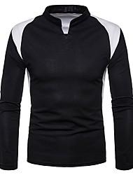 Недорогие -Муж. Рубашка Хлопок Тонкие Классический Однотонный / Воротник-стойка / Длинный рукав