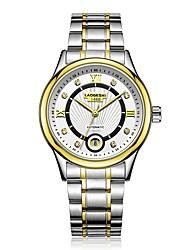 preiswerte -Herrn Kleideruhr Mechanische Uhr Quartz 100 m Wasserdicht Kalender Armbanduhren für den Alltag Edelstahl Band Analog Luxus Modisch Silber - Schwarz Silber Gold