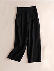 cheap -women's plus size wide leg pants - solid colored