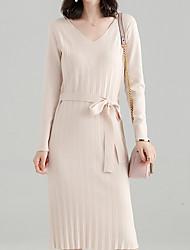 baratos -Mulheres Básico Tricô Vestido - Cordões Médio