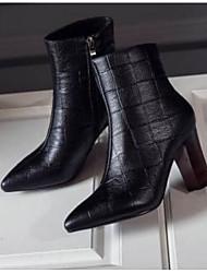 billige -Dame Fashion Boots Nappalæder Efterår Støvler Kraftige Hæle Lukket Tå Ankelstøvler Sort / Rød
