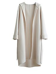 Недорогие -Жен. Пальто V-образный вырез Классический - Однотонный, Шерсть