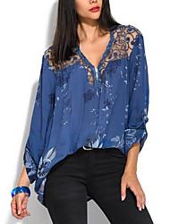 Недорогие -Жен. Рубашка V-образный вырез Свободный силуэт Цветочный принт