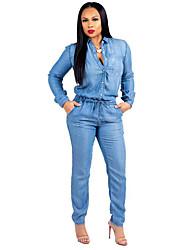 Недорогие -Жен. Повседневные Рубашечный воротник Синий Широкие Комбинезоны, Однотонный XL XXL XXXL Длинный рукав