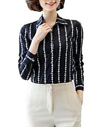 Недорогие -Жен. Офис С принтом Большие размеры - Рубашка Рубашечный воротник Деловые / Классический Цветочный принт