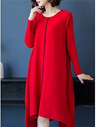 baratos -Mulheres Básico Tricô Vestido - Patchwork, Sólido Médio