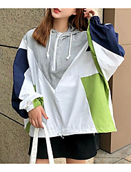 cheap -women's jacket - color block hooded