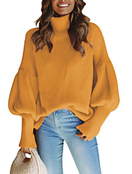 povoljno -Žene Dnevno Osnovni Jednobojni Dugih rukava Regularna Pullover, Dolčevita Proljeće / Jesen Pamuk Crn / Red / Bijela M / L / XL