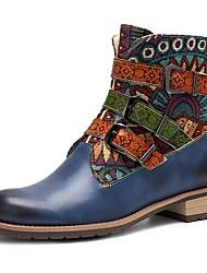 Недорогие -Жен. Комфортная обувь Кожа Лето Ботинки На низком каблуке Синий