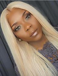 Недорогие -Натуральные волосы Лента спереди Парик Бразильские волосы Прямой Блондинка Парик Средняя часть 130% Плотность волос с детскими волосами Горячая распродажа 100 / Необработанные / Отбеленные узлы