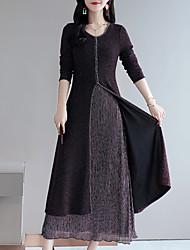 Недорогие -Жен. Уличный стиль / Элегантный стиль Оболочка / С летящей юбкой Платье - Контрастных цветов Макси