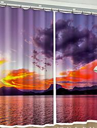 Недорогие -Солнцезащитные 3D-шторы 2 шторы 2 * (W110cmxL180cm) Синий / Спальня