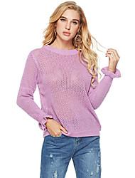 abordables -Femme Couleur Pleine / Bloc de Couleur Manches Longues Pullover, Col Arrondi Violet / Jaune Taille unique