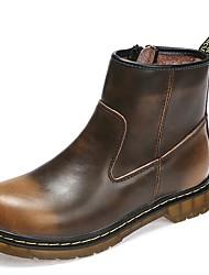 Недорогие -Муж. Fashion Boots Кожа Зима Английский Ботинки Сохраняет тепло Ботинки Черный / Коричневый / Винный