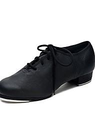 Недорогие -Жен. Обувь для чечётки / Бальные танцы Кожа Кроссовки Толстая каблук Танцевальная обувь Черный