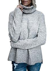 Недорогие -Жен. Повседневные Однотонный Длинный рукав Обычный Пуловер, Воротник-стойка Осень Черный / Серый / Хаки M / L / XL / Сексуальные платья