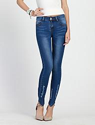 economico -Per donna Jeans Pantaloni - Tinta unita Blu e bianco