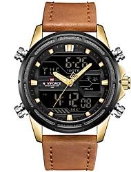 Недорогие -NAVIFORCE Муж. Спортивные часы Японский Японский кварц Натуральная кожа Черный / Коричневый 30 m Защита от влаги Календарь Фосфоресцирующий Аналого-цифровые На каждый день Мода -