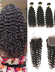 baratos -4 pacotes com fechamento Cabelo Indiano Onda Profunda 10A Cabelo Natural Remy Extensões de Cabelo Natural Trama do cabelo com Encerramento 8-26 polegada Tramas de cabelo humano 4x4 Encerramento