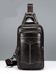 Недорогие -Муж. Мешки Кожа Слинг сумки на ремне Молнии Кофейный / Коричневый