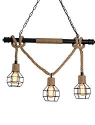 abordables -3 tête de cage en métal rustique tuyau d'eau en chanvre corde pendentif lumière salon lustre de salle à manger