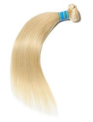 baratos -1 pacote Cabelo Brasileiro Liso 10A Cabelo Virgem Cabelo Natural Remy Precolored Tece cabelo 10-26 polegada Loiro Tramas de cabelo humano Fabrico à Máquina Melhor qualidade 100% Virgem Extensões de