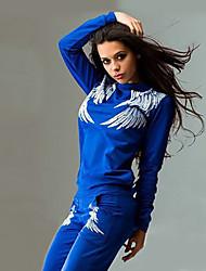Недорогие -Жен. Вырез под горло Футболка и брюки для бега - Черный, Синий, Серый Виды спорта Цветочные / ботанический Спортивный костюм Фитнес, Для спортивного зала, Разрабатывать Длинный рукав Спортивная одежда