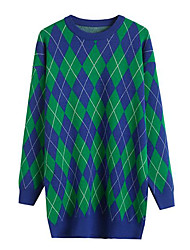 olcso -női hosszú ujjú pamut pulóver - houndstooth