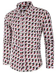 Недорогие -Муж. С принтом Рубашка Классический Контрастных цветов / Гусиная лапка