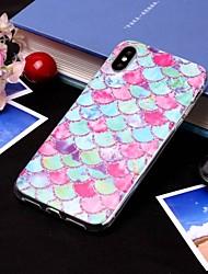 Недорогие -Кейс для Назначение Apple iPhone XS / iPhone XS Max IMD / Полупрозрачный Кейс на заднюю панель Полосы / волосы / Продукты питания Мягкий ТПУ для iPhone XS / iPhone XR / iPhone XS Max