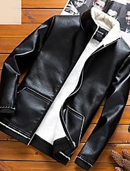 baratos -Homens Jaquetas de Couro Básico - Sólido
