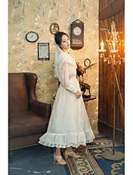 baratos -Doce Lolita Clássica e Tradicional Tradicional / Vintage Renda Feminino Saia Blusa / Camisa Festa a Fantasia Baile de Máscara Cosplay Branco / Rosa claro Julieta Manga Longa Comprimento Longo
