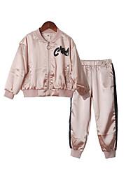 זול -סט של בגדים שרוול ארוך אחיד בנות ילדים