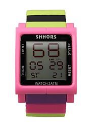 Недорогие -Для пары Спортивные часы Японский Цифровой Pезина Черный / Белый / Синий 30 m Защита от влаги Календарь Секундомер Цифровой Кольцеобразный Цветной - Розовый Черный / Белый Белый / Красный / Два года