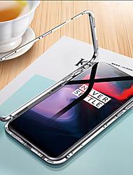 Недорогие -Кейс для Назначение OnePlus OnePlus 6 Прозрачный Чехол Однотонный Твердый Закаленное стекло / Металл для OnePlus 6